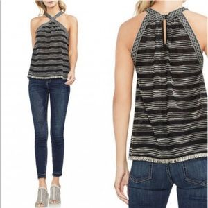 Vince Camuto striped halter top sheer keyhole raw
